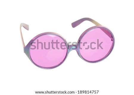 fun purple glasses on white - stock photo