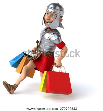 Fun roman soldier - stock photo