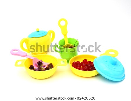 Fun with cooking toys - stock photo