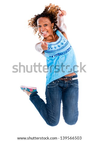 Fun woman jumping - isolated over a white background - stock photo