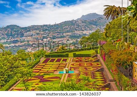 "FUNCHAL, PORTUGAL-JUNE 03: Botanical garden ""Jardim Botanico"" in Funchal, Madeira, Portugal on June 03, 2013. A famous tourist destination on the island Madeira. - stock photo"