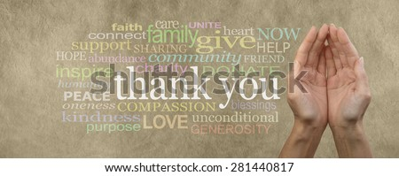 Fund Raising Campaign Website Header saying Thank You - Female cupped hands on parchment effect background with a word cloud surrounding the word Thank You for seeking charitable donations and help - stock photo