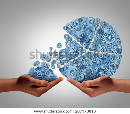 Funding and development concept as a human hand giving or taking investment from a business pie chart made of gears and cogs as a financial backing symbol of investing support or charity donation. - stock photo