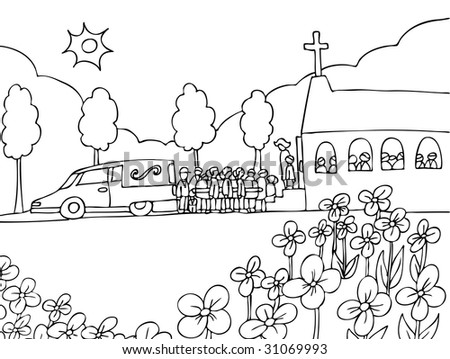 Funeral : Cartoon of people carrying a casket out of a hearse and into a crowded church. - stock photo