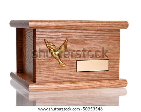 Funeral wood urn complete view isolated on pure white background - stock photo