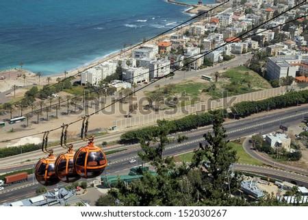 Funicular in Haifa, Israel - stock photo
