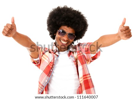 Funky afro man with thumbs up - isolated over a white background - stock photo