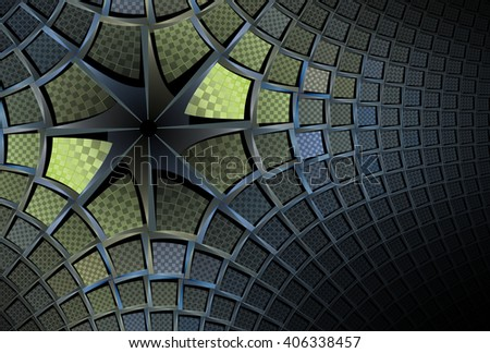 Funky blue, green and teal abstract 3D star design on black background  - stock photo