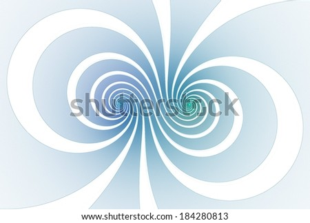 Funky blue / green / purple abstract double spiral design on white background - stock photo