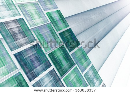 Funky blue / green / teal abstract string / rectangle design on white background - stock photo