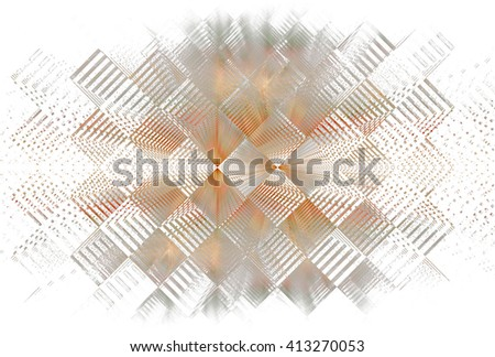 Funky blue / teal abstract checkered diamond design on white background - stock photo