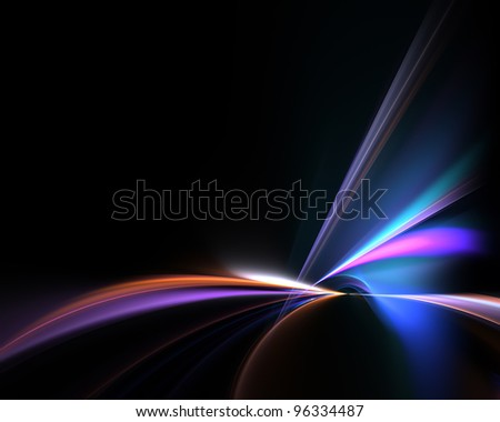 Funky glowing fractal abstract illustration over a black background with negative space. - stock photo