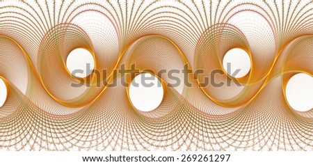 Funky gold / orange woven abstract wave design on white background (tile able)  - stock photo
