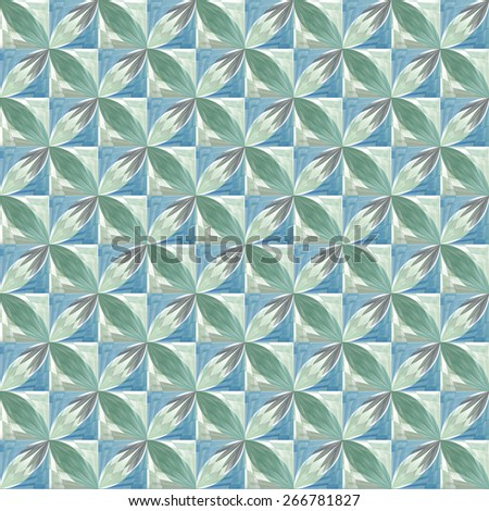 Funky green / blue / teal flowers on checkered background - tile able  - stock photo