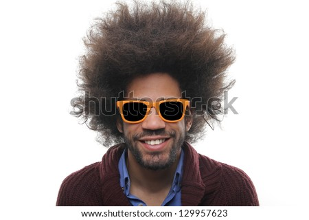 Funky man with afro - stock photo