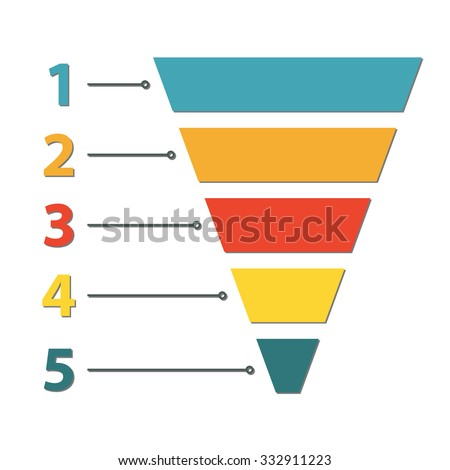 Funnel symbol. Infographic or web design element. Template for marketing, conversion or sales. - stock photo
