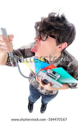 Funny above shot of office man mocking his boss over the telephone, isolated on white - stock photo