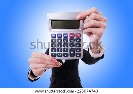 Funny accountant with calculator on white - stock photo