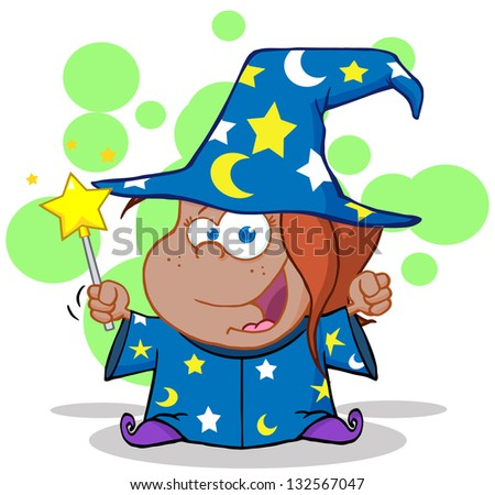 Funny African American Wizard Girl Waving With Magic Wand. Raster Illustration.Vector Version Also Available In Portfolio. - stock photo