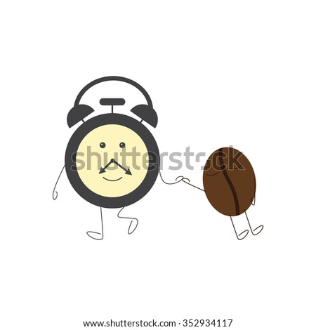 Funny alarm clock character dragging sleeping coffee bean. Concept of morning sleepiness. Flat style illustration on white background - stock photo
