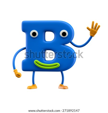 Funny alphabet character. Letter B. Isolated on white background. - stock photo