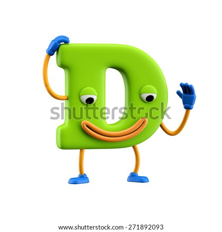 Funny alphabet character. Letter D. Isolated on white background. - stock photo