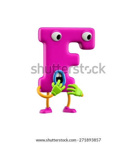 Funny alphabet character. Letter F. Isolated on white background. - stock photo