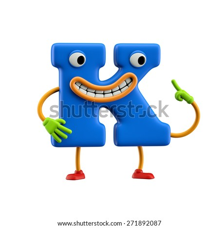 Funny alphabet character. Letter K. Isolated on white background. - stock photo
