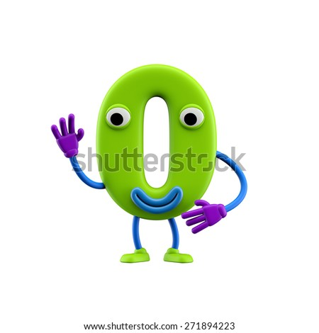 Funny alphabet character. Number 0. Isolated on white background. - stock photo