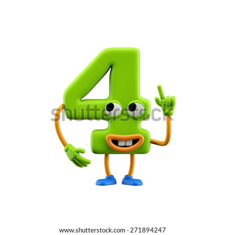 Funny alphabet character. Number 4. Isolated on white background. - stock photo