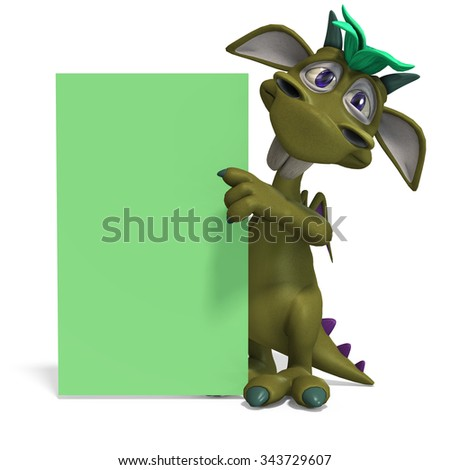 funny and colorful cartoon monster. 3D rendering with clipping path and shadow over white - stock photo