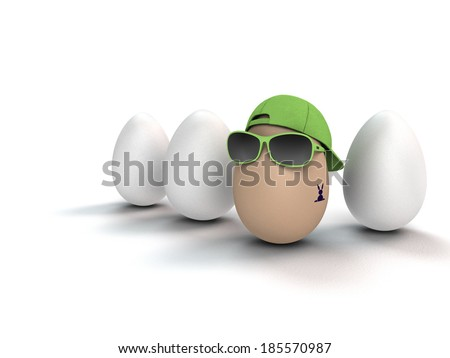 funny and cool easter egg with bunny tattoo - stock photo