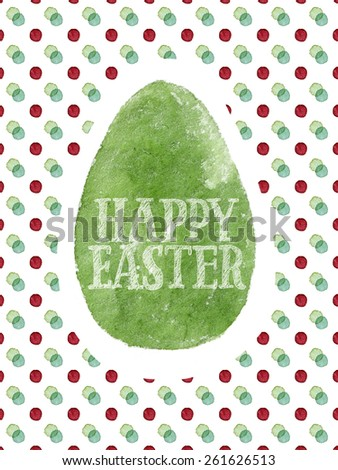 Funny and cute Easter greeting card hand-painted with watercolor. Green watercolor egg with Happy Easter words on colorful polka-dot background. Real watercolor painting - stock photo