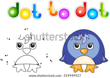 Funny and cute penguin. illustration for children. Dot to dot game - stock photo