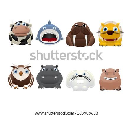 Funny animal icons over white background - stock photo
