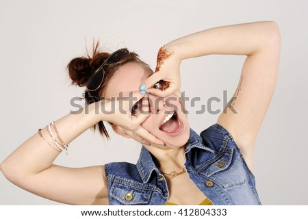 funny attractive hipster girl clowning, happy lifestyle concept - stock photo