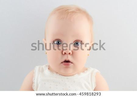 funny baby girl. little child.newborn - stock photo