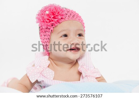 funny baby girl smile on white background - stock photo