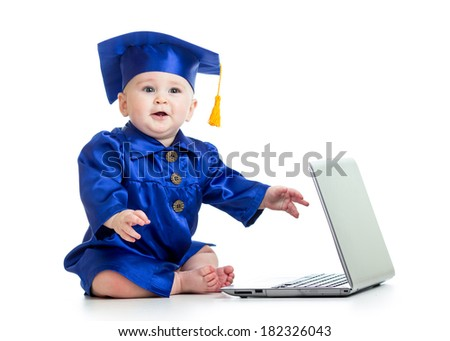 funny baby in academician clothes  with laptop - stock photo