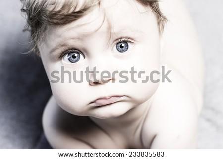 funny baby portrait - stock photo