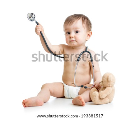funny baby weared diaper with stethoscope - stock photo