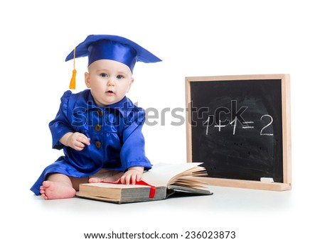 funny baby with open book in academician clothes at chalkboard isolated - stock photo