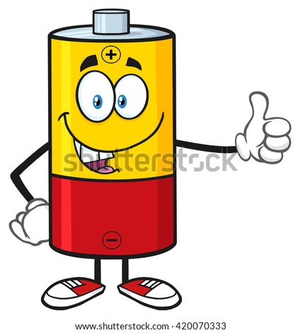 Funny Battery Cartoon Mascot Character Giving A Thumb Up. Raster Illustration Isolated On White - stock photo