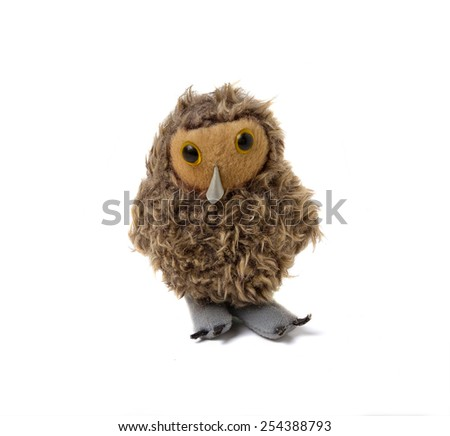 Funny bird. Toy isolated on a white background - stock photo
