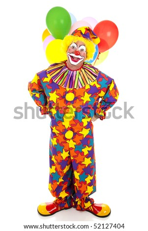 Funny birthday clown with balloons against a white background. - stock photo