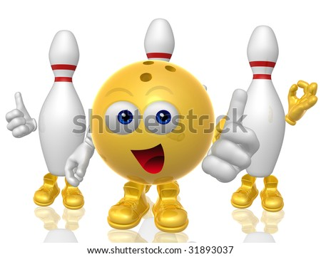 Funny bowling ball figure and pins - stock photo