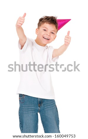 Funny boy in birthday cap, isolated on white background - stock photo