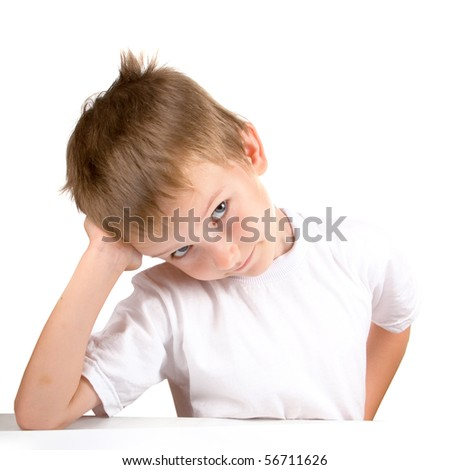 Funny boy, isolated on a white background - stock photo