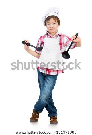 Funny boy with black spoons isolated on white background - stock photo