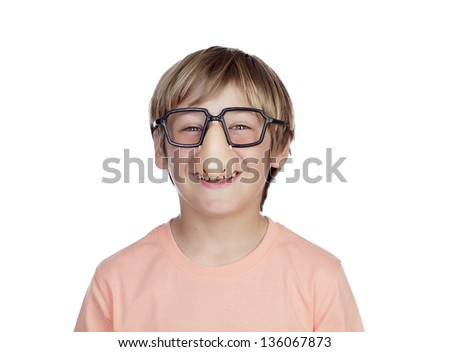 Funny boy with glasses disguise isolated on a white background - stock photo